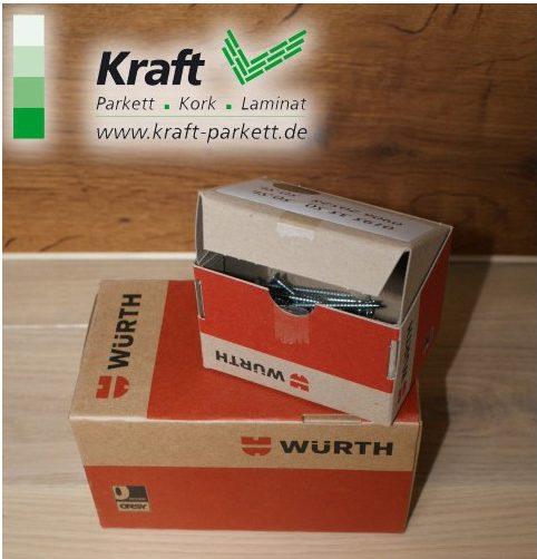 Schrauben + Dübel, 500 Stück von Würth für Sockelleisten, 3,5x50mm, 3 Farben möglich